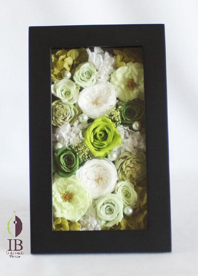 プリザードフラワー フレームのお花 グリーンのバラ