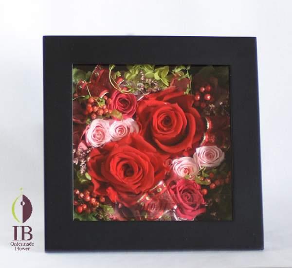プリザードフラワー オーダーメイド ウッドフレームのお花