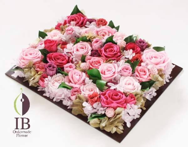 プリザードフラワー ピンクのバラ フレームのお花