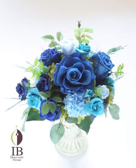 母の日の贈り物 青いバラのアレンジ