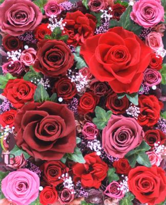 プリザードフラワー 赤いのバラ フレームのお花