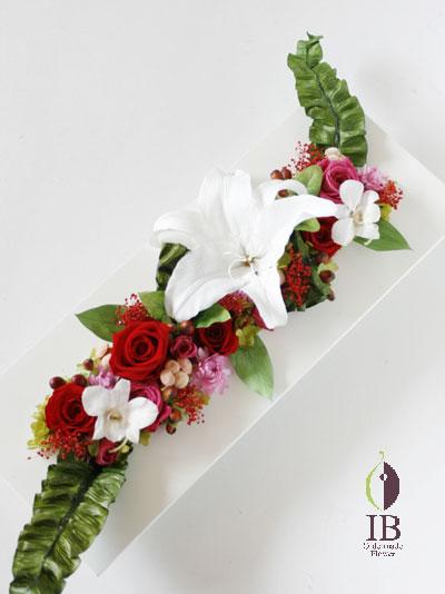 プリザード 長方形フレーム花