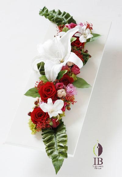 プリザード 長方形木製フレーム装飾花