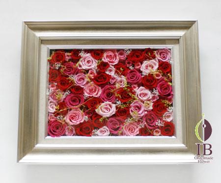 プリザードフラワー 壁掛け 古希木製フレーム装飾花
