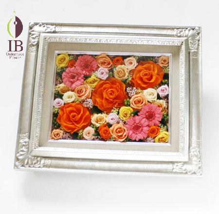 プリザードフラワー オレンジバラのフレーム装飾