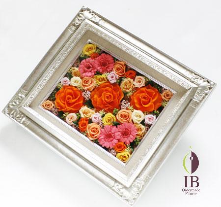 プリザードフラワー タンジェリンオレンジ バラのフレーム装飾