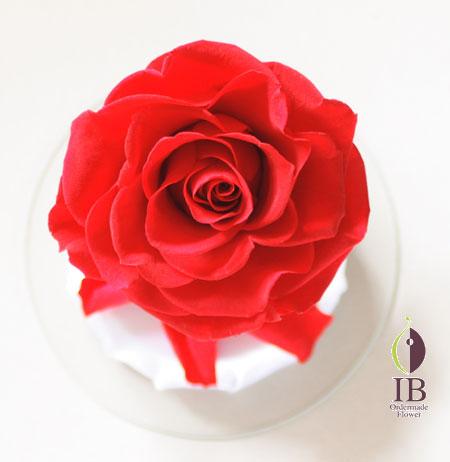 プリザードフラワー オーダーメイド 一輪の赤いバラ