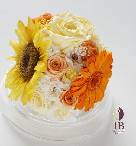 プリザードフラワー バラ サンセットオレンジ