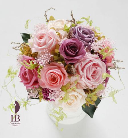 プリザーブドフラワー ピンクのバラ バースデープレゼント