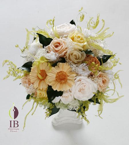 プリザーブドフラワー 白とオレンジ装飾花