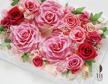 プリザーブドフラワー ゴージャスピンクのバラのフレーム