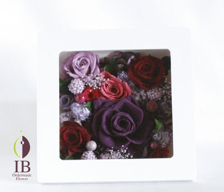 プリザーブドフラワ- 古希 紫のバラ
