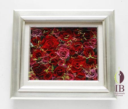 プリザードフラワー 壁掛け 還暦木製フレーム装飾花