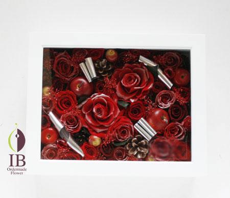 プリザーブドフラワ- スパークリングレッドのバラの装飾