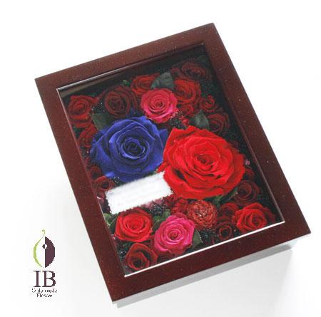 プリザーブド バラのウッドボックス装飾 オーダーメイド