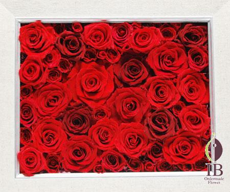プリザードフラワー 赤い薔薇のフレーム装飾