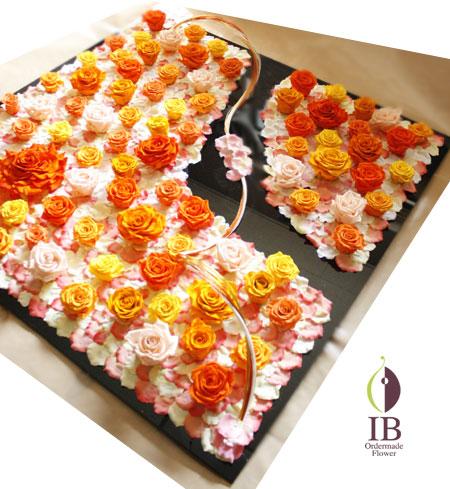 プリザーブド 特大フレーム装飾 バラ ブライトオレンジ