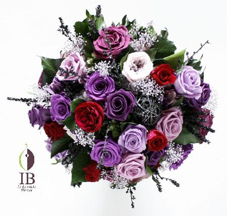 プリザーブドフラワ- 紫アレンジ