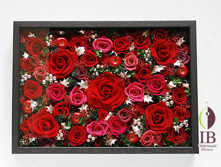 プリザーブドフラワ- オフィスの壁に飾るお花