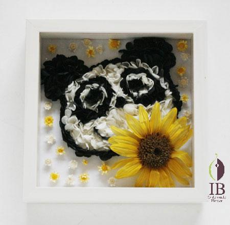 プリザーブドフラワ- パンダ フレーム装飾