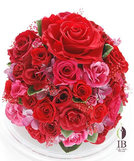プリザ 赤いバラ60輪のドームアレンジ