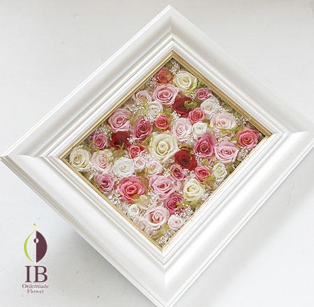 プリザーブドフラワー ピンクのバラのフレーム