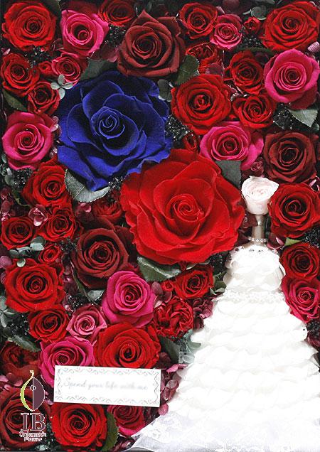 プリザ ウェデイングドレスのお花 フレーム