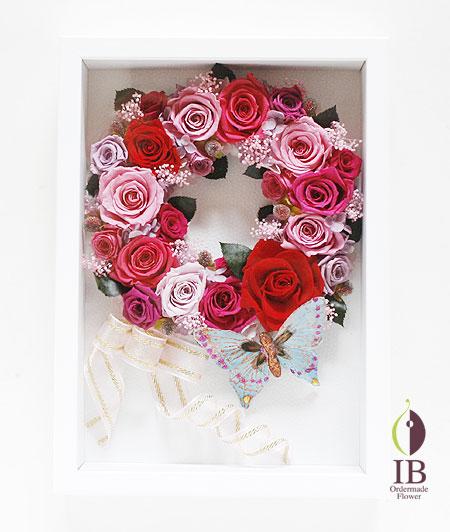 プリザードフラワー 壁掛け 木製フレーム装飾花
