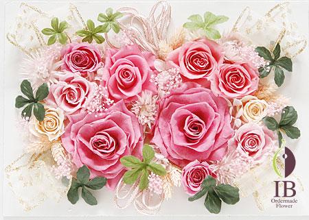プリザ ピンクのバラのフレーム