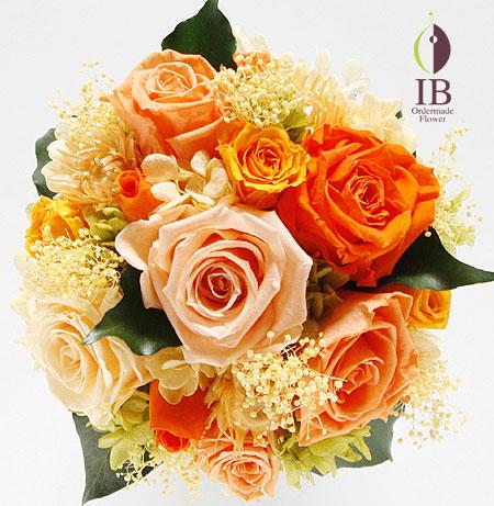 プリザーブドフラワ- オレンジのバラのアレンジ
