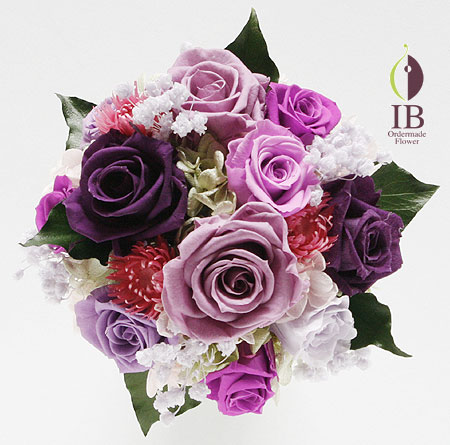 プリザーブドフラワ- 紫のバラのアレンジ