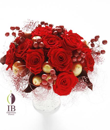 プリザ バラ 赤いバラの還暦お祝いアレンジ